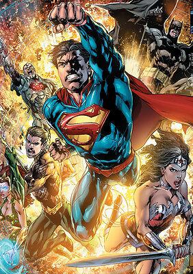 STICKER AUTOCOLLANT POSTER A4 COMICS DC SUPER LEAGUE.SUPERMAN WONDER WOM BATMAN