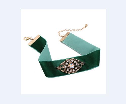 Nuevo collar vintage chocker verde Oktoberfest collar banda de terciopelo