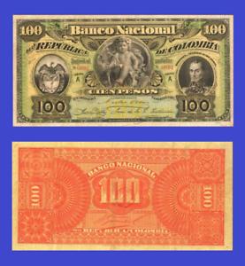 Reproduction Colombia 100 pesos 1888 UNC