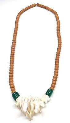 lampwork glass beadsshell necklacemother of pearl necklaceNature inspired jewelryHawaiian jewelryBohemian necklaceSpring jewelry