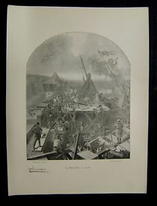 Simple Gravure Ancienne Laurent La Muraille 1218 Imprime 1895 Ref01
