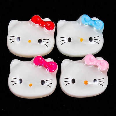 Cute Hello Kitty Face Bow Clear Resin Flatback Cabochons Scrapbooking DIY R0227
