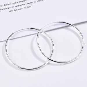 925-Silver-Big-Large-Polished-Round-Circle-Hoop-Earrings-Womens-Wedding-Jewelry