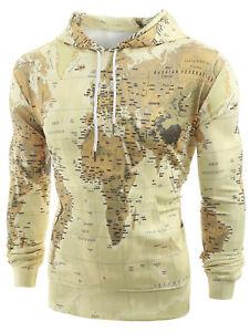 Mens Pocket Hoodies World Map Print Pullover Hoodie Drawstring