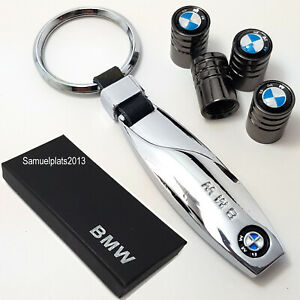 BMW-chrome-metal-key-ring-with-set-of-4x-tyre-valve-dust-caps-with-gift-box