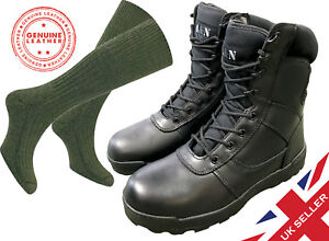 ALL-LEATHER-Black-Cadet-ATC-Army-Patrol-Combat-Boots-SOCKS-Airsoft-Military