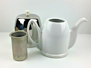 Insulated-Salam-The-Teapot-White-Porcelain-w-Chrome-Cover-amp-Strainer-Salam-The