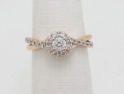 Zales 1 2ct Round Diamond Halo Engagement Wedding Ring Bridal 10k Rose Gold Ebay