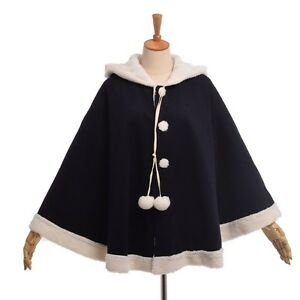 4be8d53d991f Thicken Overcoat Girls Winter Poncho Cape Loose Hooded Cloak Coat ...