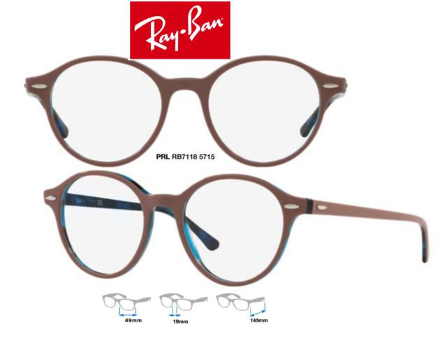 fa0d1c0276d Ray-Ban RB7118 5715 Eyeglass Frames Light Brown;Blue Havana Round Size 48mm