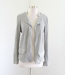 Dolan-Anthropologie-Heather-Gray-Striped-Open-Front-Knit-Blazer-Jacket-Size-S