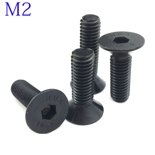 M2 2mm DIN7991 Black 10.9 Class Alloy Steel Hex Socket Countersunk Head Screw