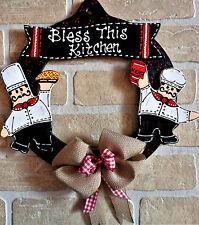 FAT CHEF Bless Kitchen WOOD WREATH Wall Door Sign Hanging Hanger BURLAP Plaque