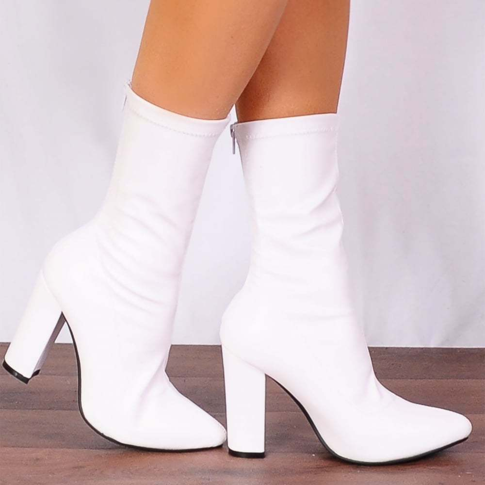 WHITE SOCK PULL ON STRETCH FAUX SUEDE ANKLE HIGH BOOTS HIGH HEELS SHOES SIZE 3-8