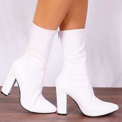 WHITE SOCK PULL ON STRETCH FAUX SUEDE