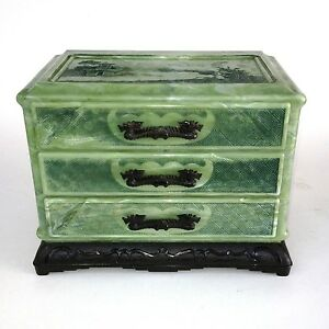Vintage Asian Oriental Jewelry Box Dragon Handles Jade Green Marbled