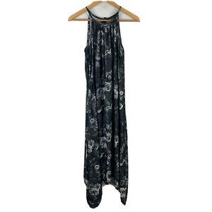 Decjuba-Womens-Midi-Dress-Size-8-Black-Floral-Sleeveless-Tie-Closure-Gorgeous