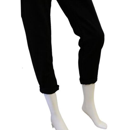 Da Donna Nero 3//4 Lunghezza Gamba Jeans trouers Skinny Jean passanti per cintura chiusura zip
