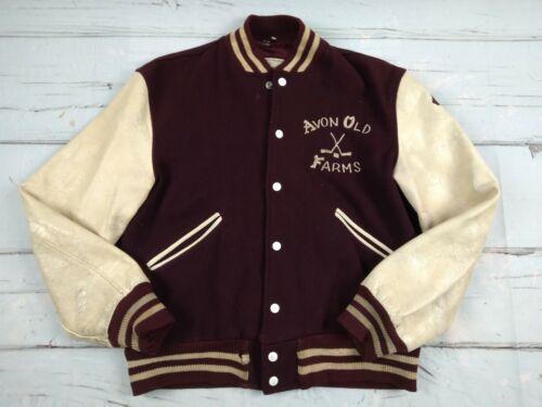 VTG 50s Distressed Leather Wool Letterman Jacket B