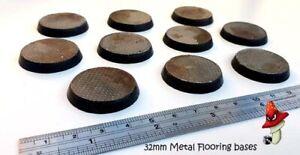 10-Pisos-de-Metal-32mm-Redonda-bases-de-resina-40k-ESCENOGRAFIA-Warhammer-Industrial