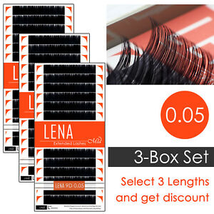 3-Box Set LENA Black Pearl 0.05 Individual Eyelash Extensions with Matte Finish