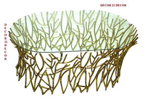 DESIGNER TWIGS MIRROR TOP  ITALIAN GOLD COFFEE TABLE /HORCHOW