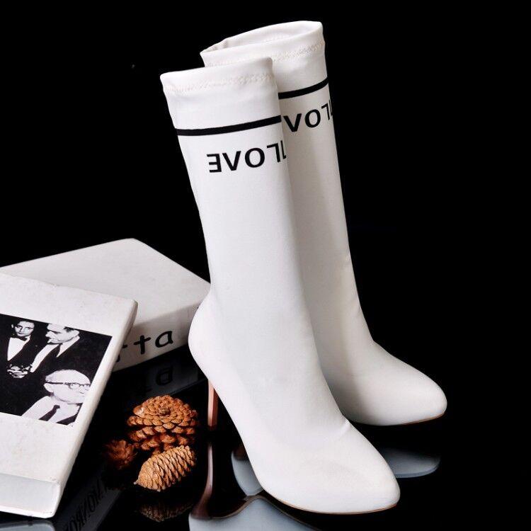Stivaletti botas coscia  tacco spillo 9.5 cm  bianco negro pelle sintetica 383