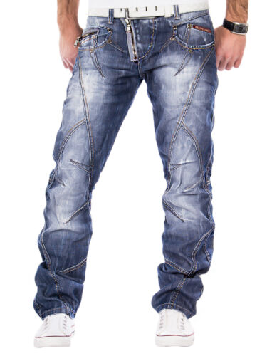 Cipo /& Baxx Uomo Jeans Denim Pantaloni Zipper Clubwear PANTALONI JEANS BLU CUCITURE