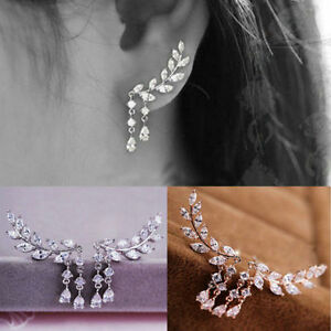 Womens-Gold-Silver-Crystal-Zircon-Leaves-Tassel-Ear-Stud-Earrings-Jewelry-Gift