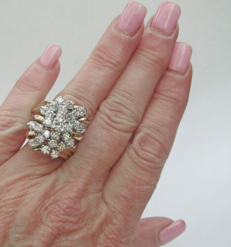 HUGE 3.0 CARAT DIAMOND CLUSTER 14K YELLOW GOLD COCKTAIL RING OVER 925 SILVER
