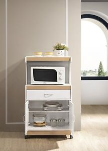 Image Is Loading Hodedah Microwave Cart With One Drawer Two Doors