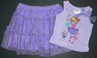 Darling Girls Purple Sparkle Girl Dog Tutu Skirt Top Outfit 12 Months