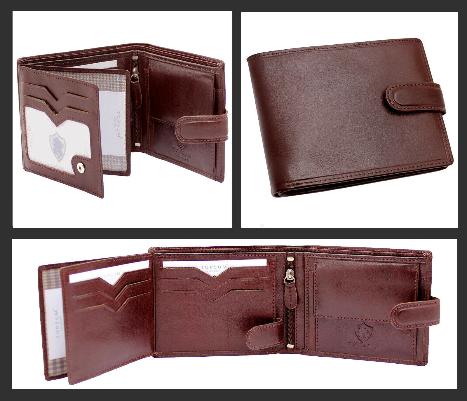 New Topsum London Mens Designer Genuine Leather Billfold Wallet Purse 4014 Brown