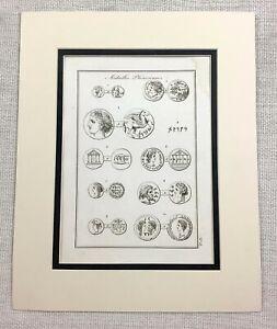 1821-Antique-Print-Ancient-Phoenician-Coins-numismatics-Money-Old-Engraving