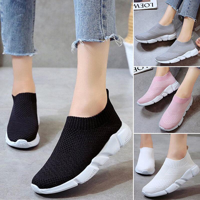 Damen Stretch Bequeme Sneaker Turnschuhe Laufschuhe Freizeitschuhe Sockenschuhe