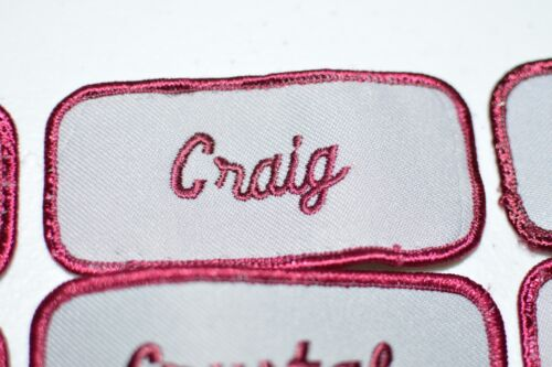 Maroon Embroidered Name Tag Patch Sew-on for Mechanic Work Shirt Uniform Sales