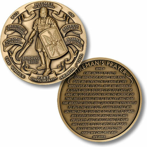 Armor of God Fireman's Prayer High Relief Challenge Coin