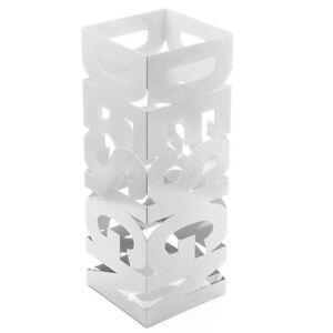 Portaombrelli-Ferro-Design-BAKAJI9W-Quadrato-Stand-Bianco-Vaschetta-Salvagoccia