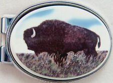 Money Clip Oval Barlow Photo Reproduction in Color Buffalo Bison Silver 539621c