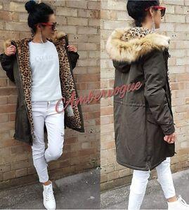 Leopard fur lined parka