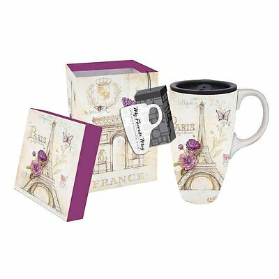 French Lilacs 17 oz. Ceramic Travel Mug w/ Lid, Gift Boxed, by Cypress