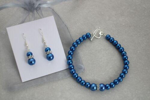 Pearl /& Diamante Bracelet /& Earrings Set Ladies Flower girls Bridesmaid E2