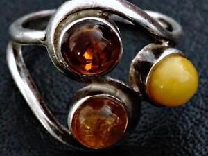 vintage-Designer-Ring-Dreifarbig-Butterscotch-Bernstein-Silber-um-1970-a95