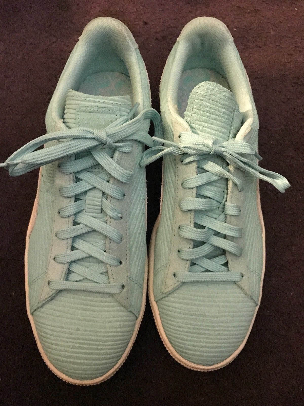 Puma Suede Classic Teal bluee Suede Ridged Lace Up Sneakers Women's Sz 10