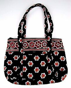 b33820a68e Image is loading Vera-Bradley-Handbag-Pirouette-Black-Red-Floral-Quilted-