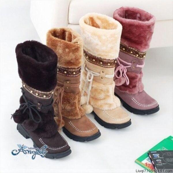 4 colors Fashion Fashion Women's Girls Winter Warm Snow Boots shoes