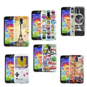 pour-Samsung-Galaxy-S5-telephone-motif-classique-Coque-BRILLANT-PROTECTEUR