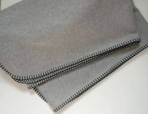 un-LODEN-Plaid-CLASSE-1-40-x-1-90-m-gris-clair-80-coton-NEUF