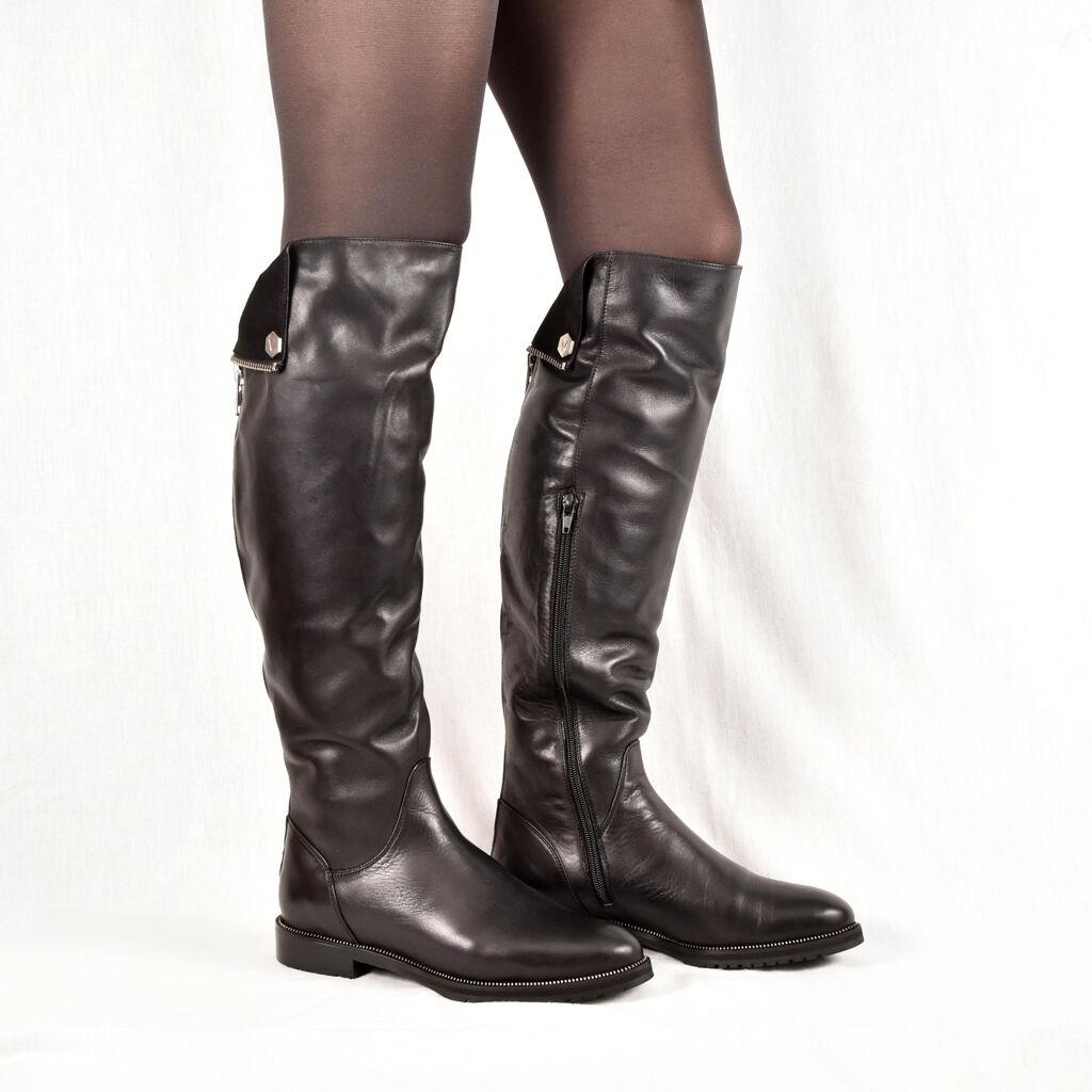 Señora botas botines botas, negra, cuero elegante nuevo 36 37 38 39 zapatos