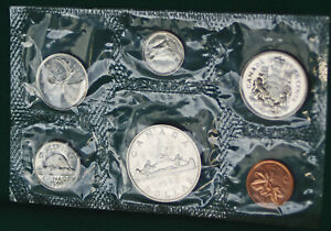 1969-Canada-Prooflike-PL-set-6-perfect-coins-in-original-mint-sealed-plastic
